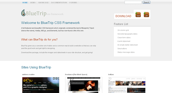 bluetrip css framework - arunace blog