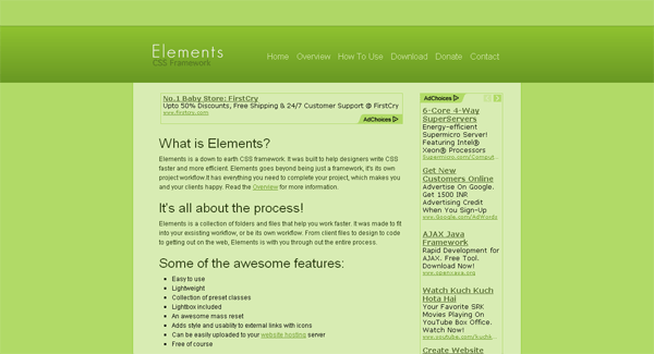 elements css framework - arunace blog
