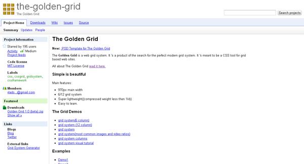 the golden grid css framework - arunace blog