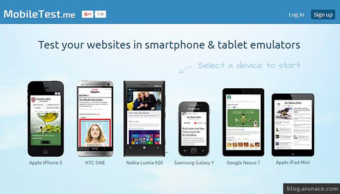 mobiletest.me - iPad iphone simulators - arunace