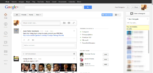Google Plus Home Page