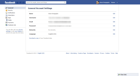 Facebook General Account Settings - Arunace