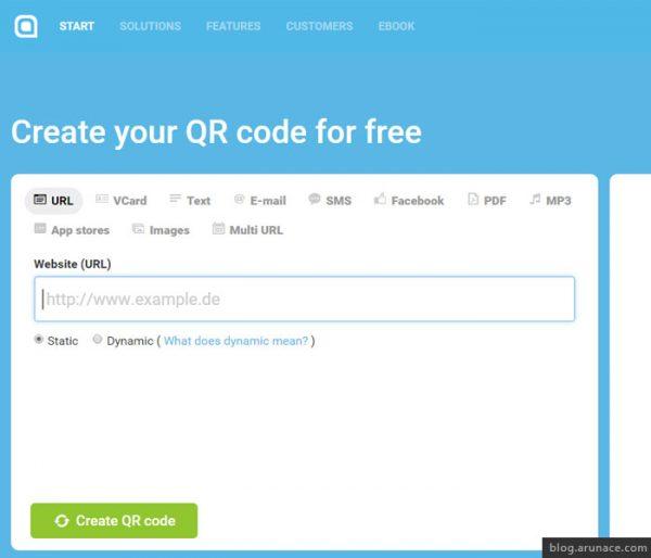 qr code generator com arunace