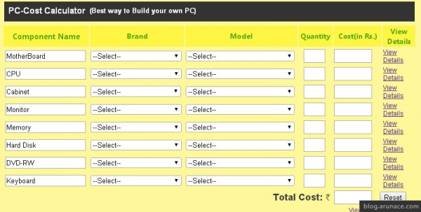 pc cost calculator - arunace