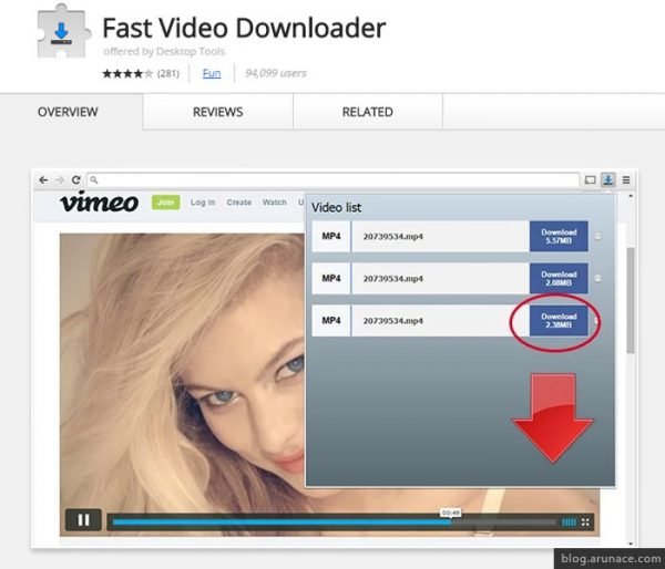 fast video downlaoder arunace
