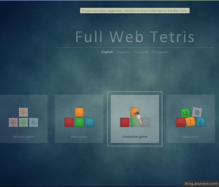 full web tetris arunace