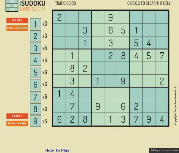 sudoku arunace