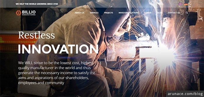 billio multipurpose industrial wordpress themes arunace