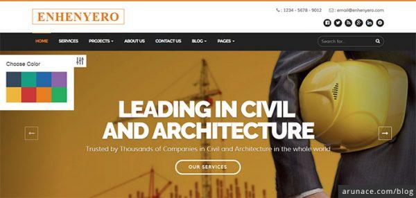 enhenyero engineering industrial wordpress theme arunace