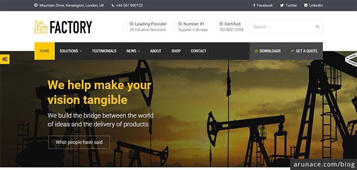 factory industrial wordpress themes arunace