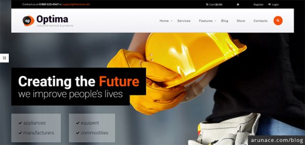 optima industrial company wordpress theme - arunace