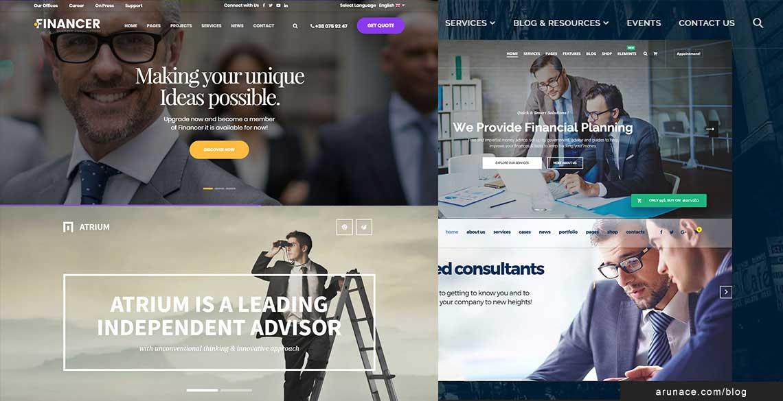 best finance company wordpress themes - arunace blog
