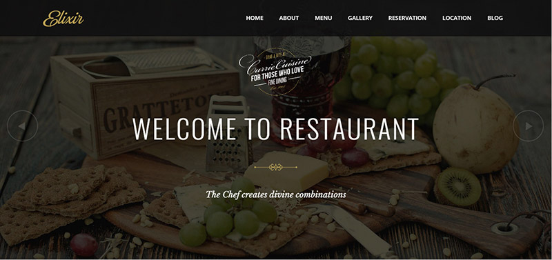 elixir restaurant wordpress theme - arunace blog