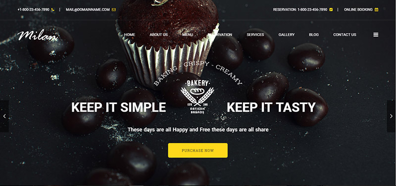 milan bakery coffee vegan wordpress theme - arunace blog