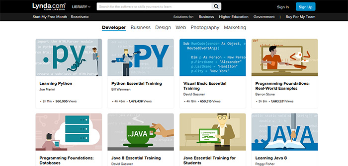 lynda tutorials and online programming courses